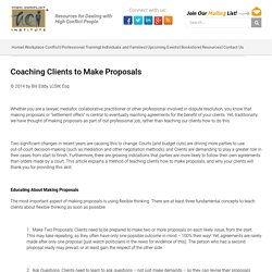 Coaching Clients to Make Proposals - High Conflict Institute