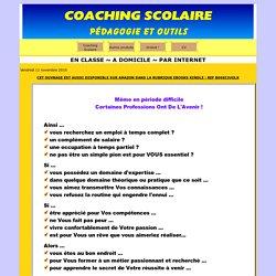 Coaching Scolaire à domicile ou par internet. Mode d'emploi