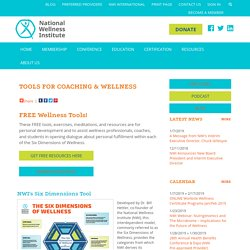 Tools for Coaching & Wellness - National Wellness Institute