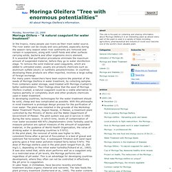 "Moringa Olifera - ""A natural coagulant for water treatment"""