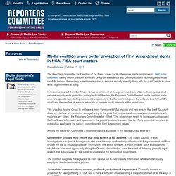 Media coalition urges better protection of First Amendment rights in NSA, FISA court matters
