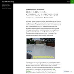 Roof Coatings – Continual Improvement