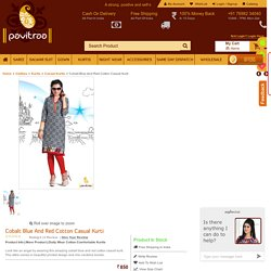 Cobalt Blue and Red Cotton Casual Kurti