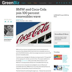 BMW and Coca-Cola join 100 percent renewables wave