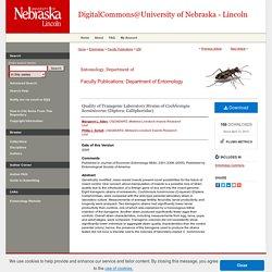 UNIVERSITY OF NEBRASKA - 2005 - Quality of Transgenic Laboratory Strains of Cochliomyia hominivorax (Diptera: Calliphoridae)