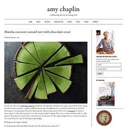 Matcha coconut custard tart with chocolate crust - Amy Chaplin