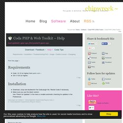 Coda PHP & Web Toolkit – Help // chipwreck