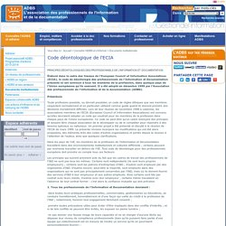 Code déontologique de l'ECIA