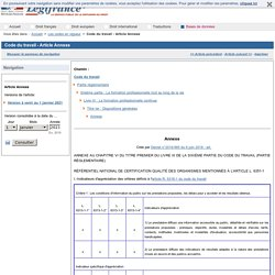 Code du travail - Article Annexe