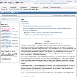 Code du travail - Article L6111-1