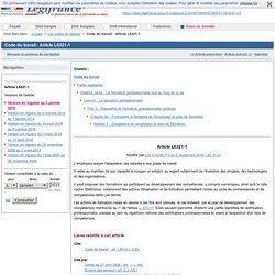 Code du travail - Article L6321-1
