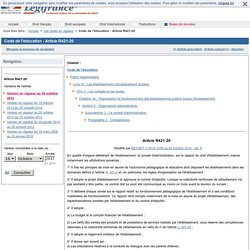 Code de l'éducation - Article R421-20