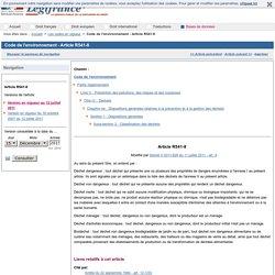 Code de l'environnement - Article R541-8