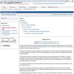 Doc.1 Code pénal - Article 131-4-1
