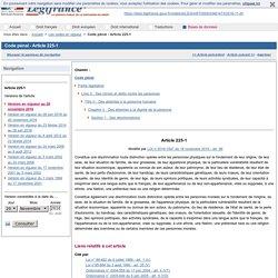 Code pénal - Article 225-1