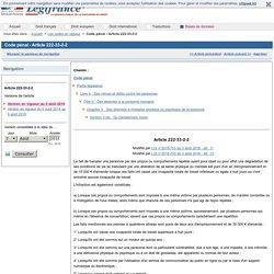 Code pénal - Article 222-33-2-2
