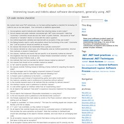 C# code review checklist - Ted Graham on .NET