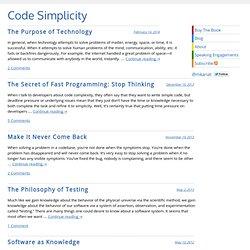 Code Simplicity » Essays