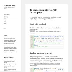 10 code snippets for PHP developers « The html blog