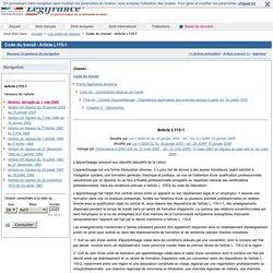 Code du travail - Article L115-1