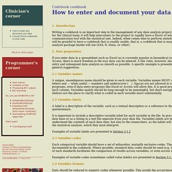 Codebook cookbook: How to enter and document your data