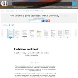 How to write a good codebook - McGill University