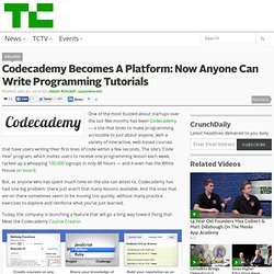 Codecademy Becomes A Platform: Now Anyone Can Write Programming Tutorials