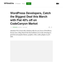 Top Selling WordPress plugins on sale with Flat 40% off on CodeCanyon Market