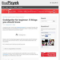 CodeIgniter for beginner: 5 things you should know