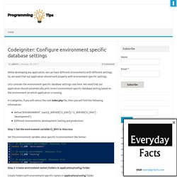 Codeigniter: Environment specific database settings