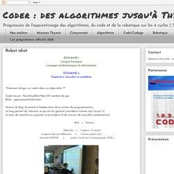 Coder : des algorithmes jusqu'à Thymio: Robot idiot