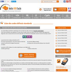 Liste des codes défauts standards (DTC) OBD2