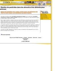 CODEX - Limites Maximales de résidus. Limites maximales de résidus d' origine étrangère.