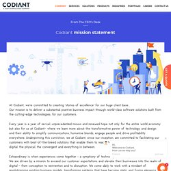 Codiant Mission Statement - From the CEO's Desk