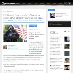 US Martial Law codified: Obama to sign NDAA officially announced - National Human Rights