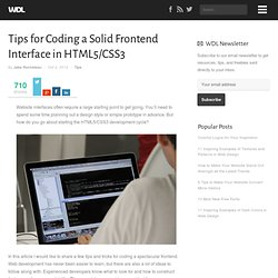 Tips for Coding a Solid Frontend Interface in HTML5/CSS3