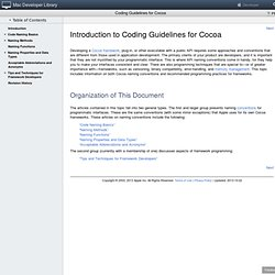 Mac Dev Center: Coding Guidelines for Cocoa: Introduction to Cod