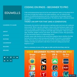 Coding on iPads – Beginner to Pro