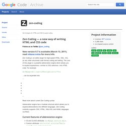 zen-coding - Set of plugins for HTML and CSS hi-speed coding