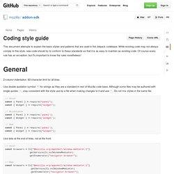 Coding style guide · mozilla/addon-sdk Wiki