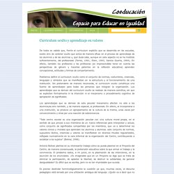 Coeducación, Espacio para Educar en Igualdad » Currículum oculto y aprendizaje en valores