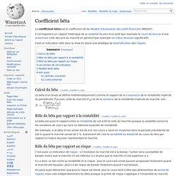 Coefficient bêta