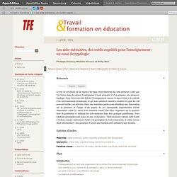 Les aide-mémoires, des outils cognitifs pour l'enseignement: un essai de typologie