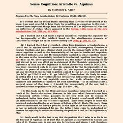 Sense Cognition: Aristotle vs. Aquinas