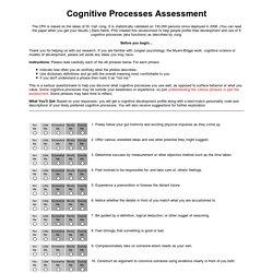 Keys 2 Cognition - Cognitive Processes TEST
