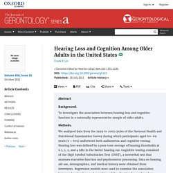 Hearing Loss and Cognition Among Older Adults in the United States