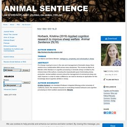 Animal Sentience 2019.227: Applied cognition research to improve sheep welfare