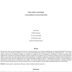 John Sweller, la charge cognitive et l'apprentissage