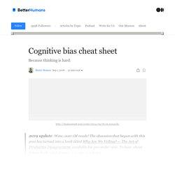 Cognitive bias cheat sheet - Better Humans - Medium