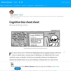 Cognitive bias cheat sheet – Better Humans